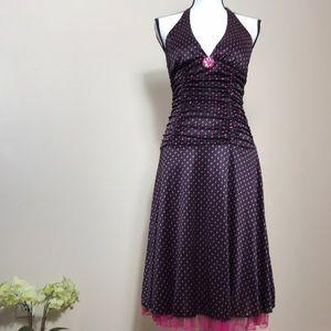 Black and pink polka dot VINTAGE Dress